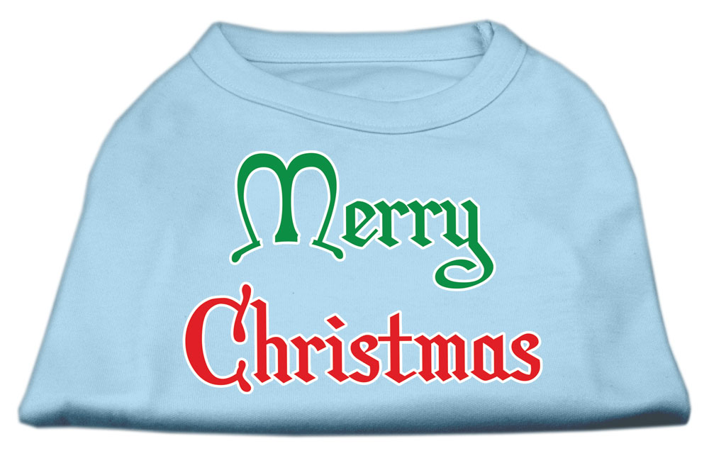 Merry Christmas Screen Print Shirt Baby Blue Lg (14)