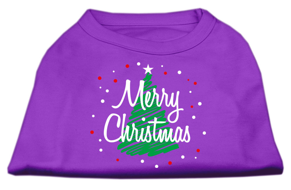 Scribbled Merry Christmas Screenprint Shirts  Purple XL (16)
