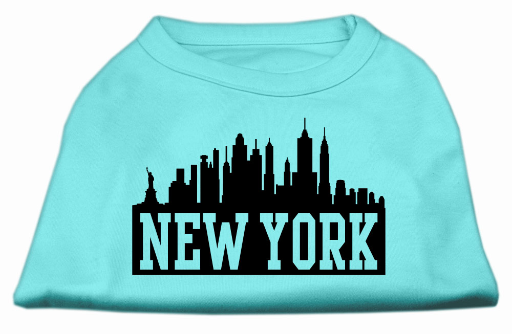 New York Skyline Screen Print Shirt Aqua XXXL (20)