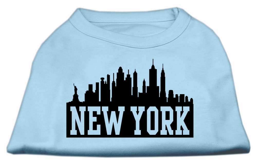 New York Skyline Screen Print Shirt Baby Blue XXL (18)
