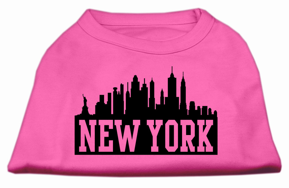 New York Skyline Screen Print Shirt Bright Pink Lg (14)