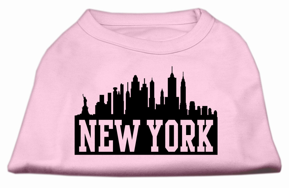 New York Skyline Screen Print Shirt Light Pink XXL (18)