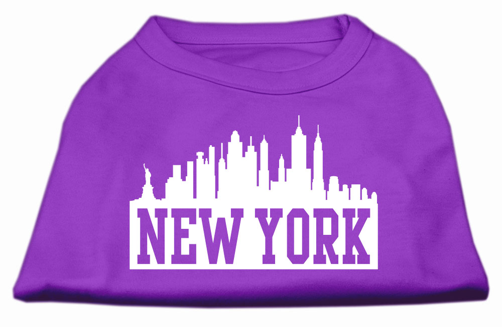 New York Skyline Screen Print Shirt Purple XXXL (20)