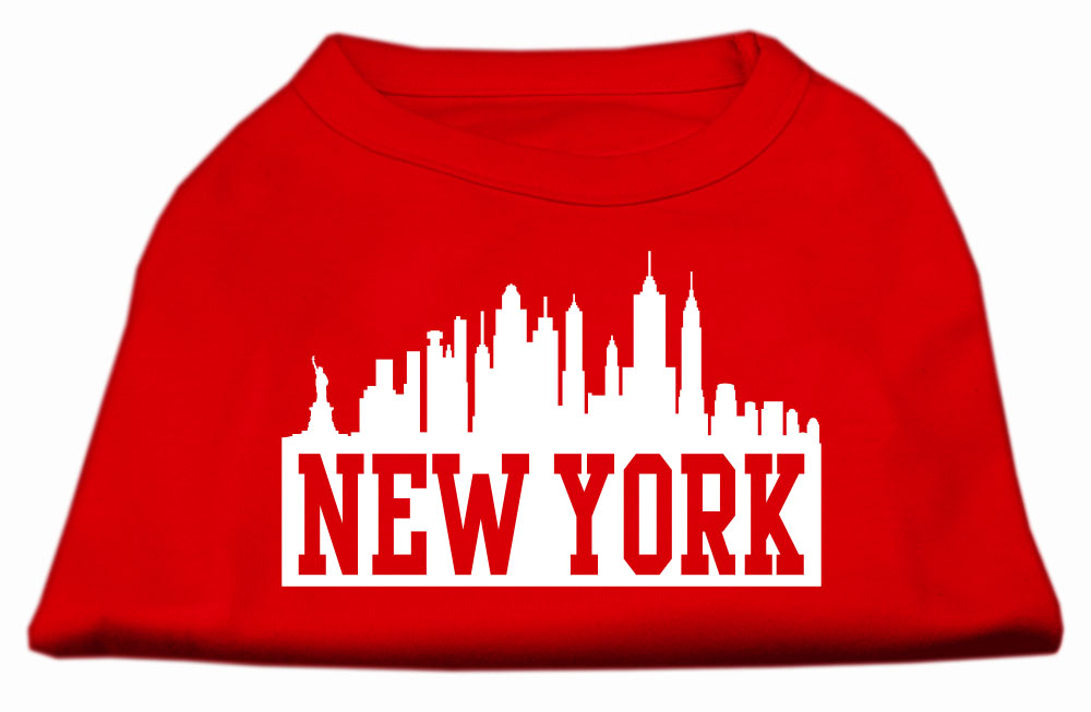 New York Skyline Screen Print Shirt Red Lg (14)