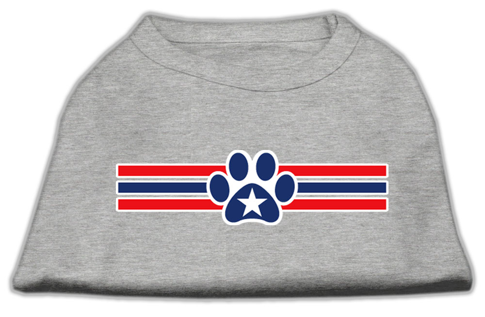 Patriotic Star Paw Screen Print Shirts Grey XXXL(20)