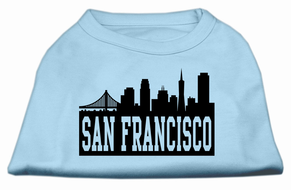 San Francisco Skyline Screen Print Shirt Baby Blue Med (12)