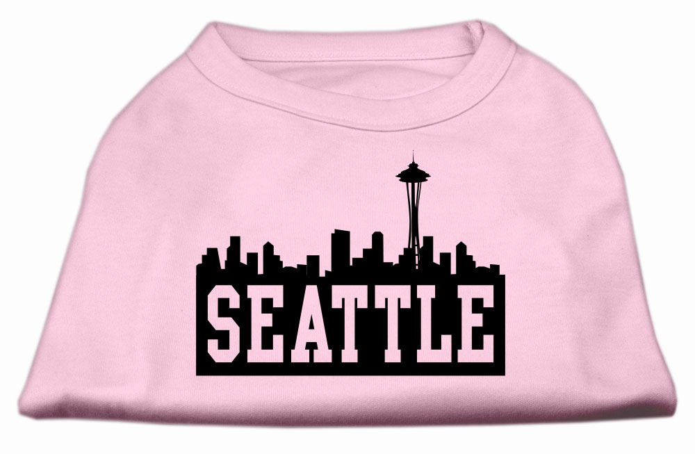 Seattle Skyline Screen Print Shirt Light Pink XXL (18)