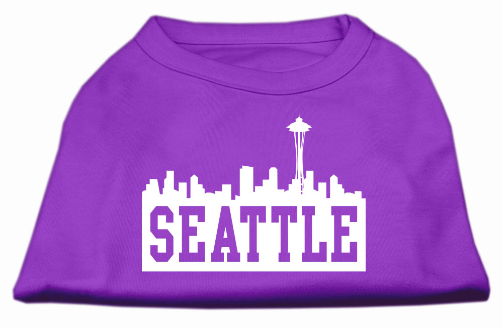 Seattle Skyline Screen Print Shirt Purple XXL (18)