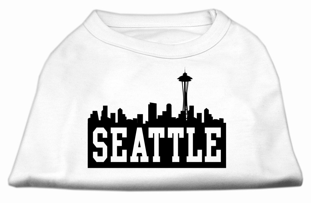 Seattle Skyline Screen Print Shirt White XL (16)