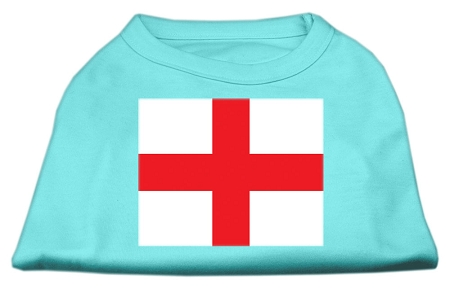 St. George's Cross (English Flag) Screen Print Shirt Aqua XS (8)