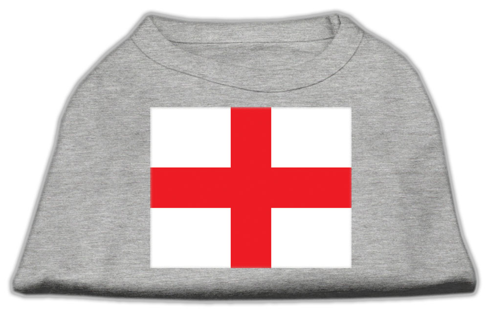 St. George's Cross (English Flag) Screen Print Shirt Grey Sm (10)