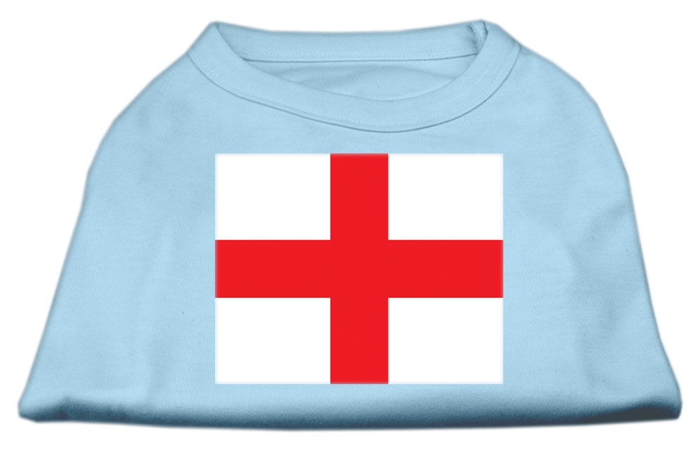 St. George's Cross (English Flag) Screen Print Shirt Baby Blue Lg (14)