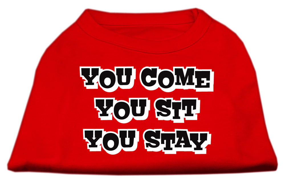 You Come, You Sit, You Stay Screen Print Shirts Red XS (8)