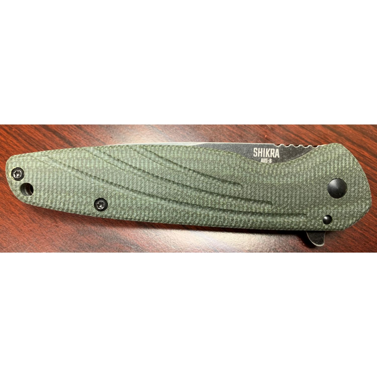 OKC Shikra Folder 3.2 in Green Micarta-Titanium Handle