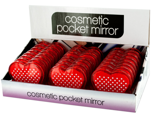 Case of 0 - Heart Shaped Cosmetic Pocket Mirror Display