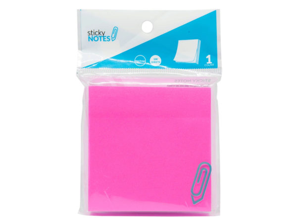 "Case of 24 - 3"" X 3"" Neon Pink Sticky Notes"