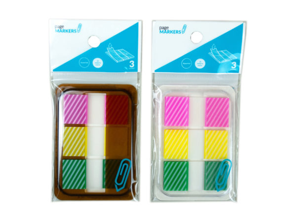 Case of 24 - Sticky Page Markers, Striped