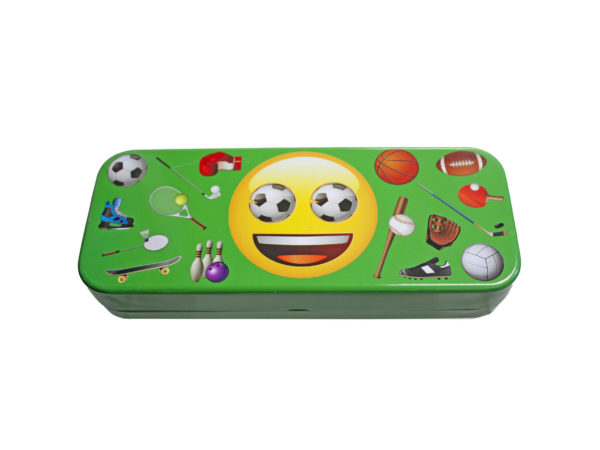 Case of 24 - Emoji Tin Pencil Box in 4 Assorted Styles