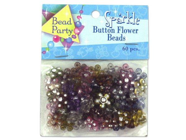 Case of 24 - Sparkle Button Flower Beads