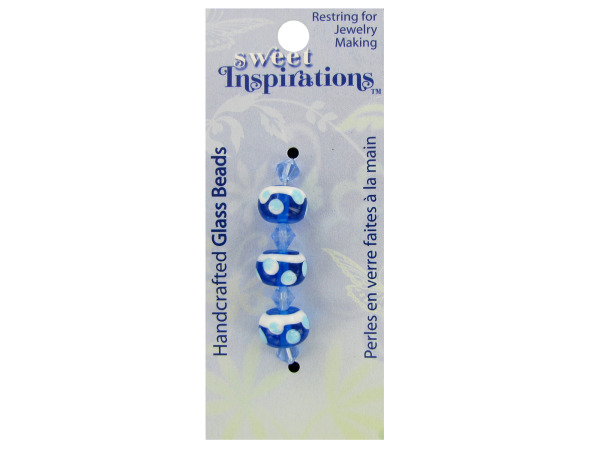 Case of 30 - Round Blue Beads with Dots and Spacers