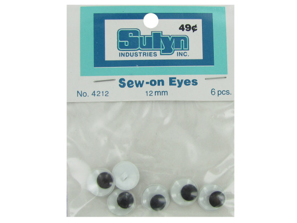 Case of 24 - Sew-on eyes, pack of 6