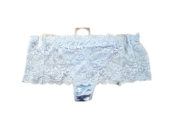 Case of 20 - Light Blue Stretch Lace Underwear Thong Size 8