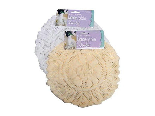 Case of 24 - Round Lace Table Doily Set