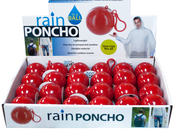 Case of 24 - Rain Poncho in a Ball Countertop Display