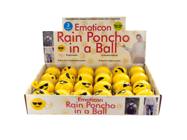 Case of 0 - Emoticon Rain Poncho in a Ball Countertop Display