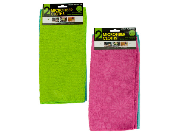 Case of 24 - Multi-Purpose Floral Microfiber Cloths