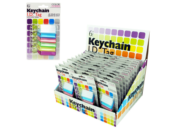 Case of 36 - Color Coded Key Chain ID Tags Countertop Display