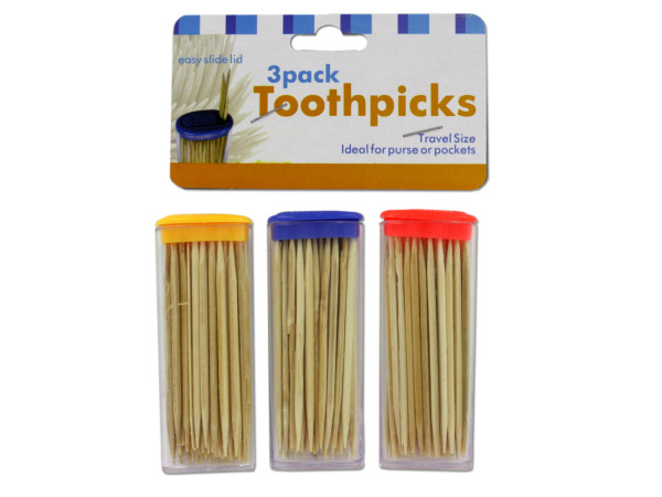 Case of 36 - Travel Toothpick Containers with Toothpicks
