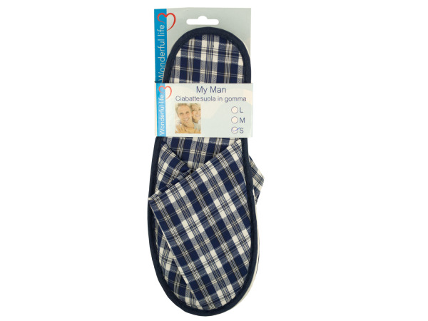 Case of 12 - Men's Plaid Slippers