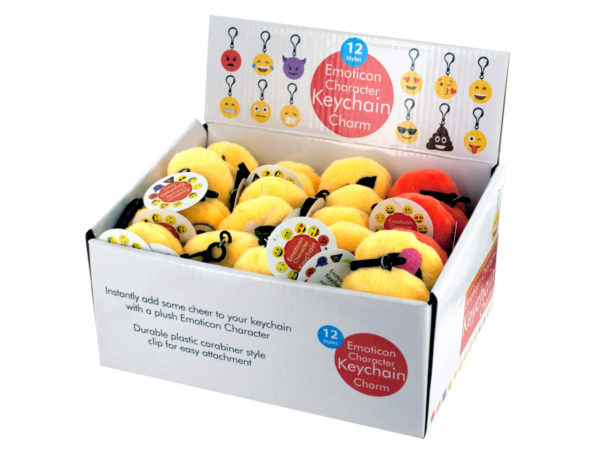 Case of 48 - Emoticon Character Keychain Charm Display
