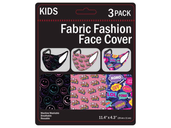 Case of 50 - 3 Pack Girls Fun Washable Face Masks 3 Asst