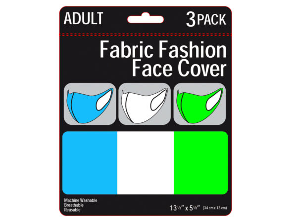 Case of 50 - 3 Pack Adult Neon Colored Washable Face Masks 3 Asst