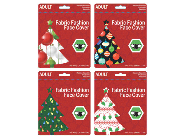 Case of 100 - Adult Christmas Ornaments & Lights Washable Face Masks 4 Asst