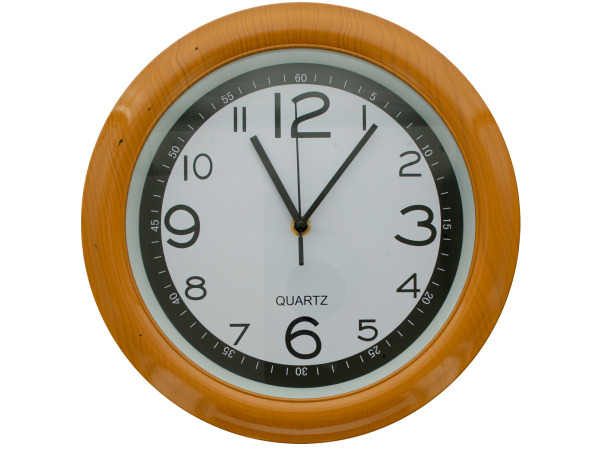 Case of 1 - Round Simulated Wood Wall Clock