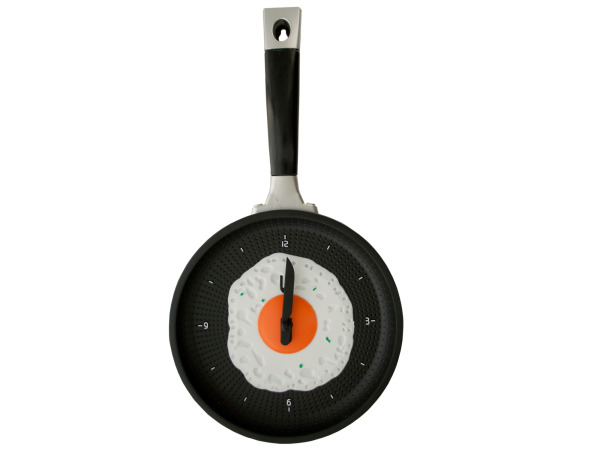 Case of 1 - Egg Frying Pan Novelty Clock