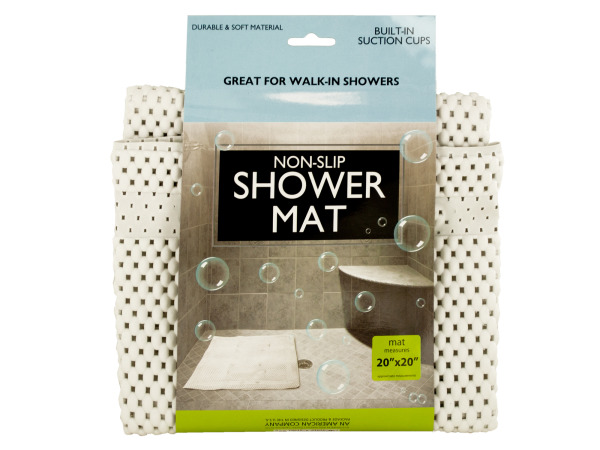 Case of 6 - Non-Slip Shower Mat with Suction Cups