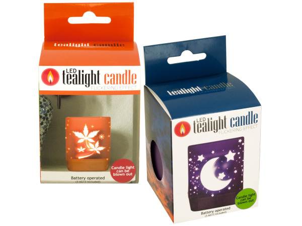 Case of 12 - Decorative Flickering LED Tealight Candle
