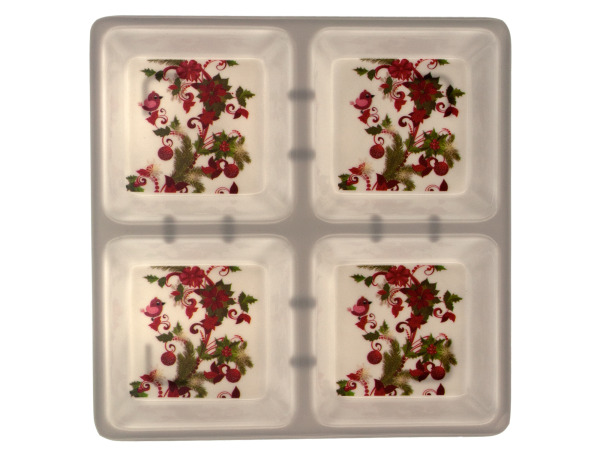 Case of 8 - Four Section Square Dish with Holly Design