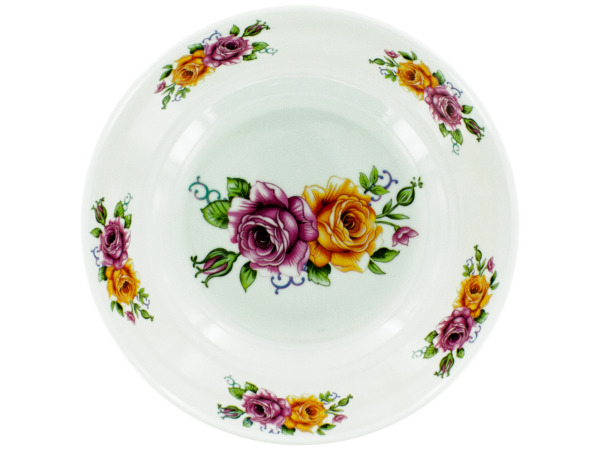 Case of 12 - Melamine Bowl with Rose Print