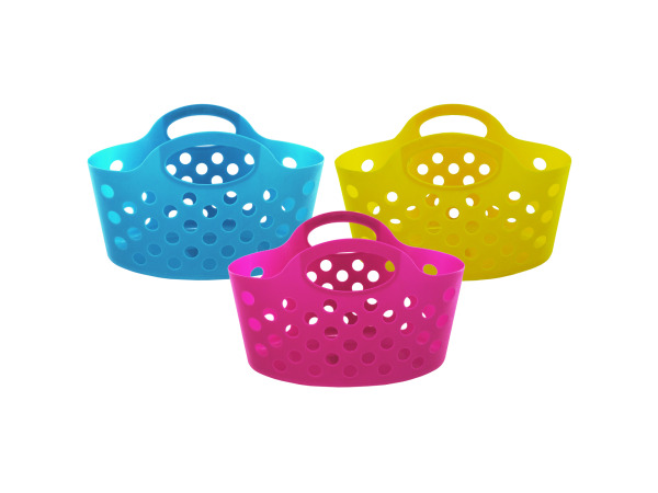 Case of 12 - Plastic Storage Basket with Handles